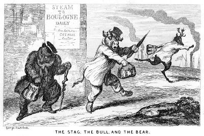 The Stag, the Bull, and the Bear, 19th Century-George Cruikshank-Giclee Print