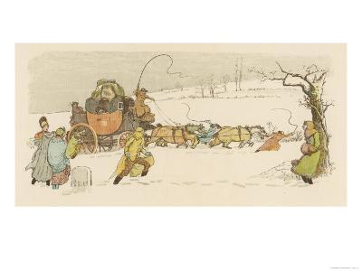The Stagecoach Horses Pull Their Coach Through Heavy Snow--Giclee Print