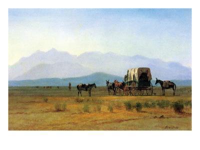 The Stagecoach in the Rockies-Albert Bierstadt-Art Print