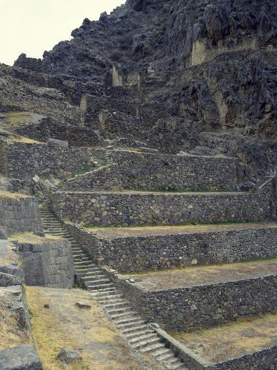 The Staircase Leading to the Fortress in Sacred Valley of Incas--Giclee Print