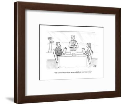 """""""The starred menu items are available for celebrities only."""" - New Yorker Cartoon--Framed Premium Giclee Print"""