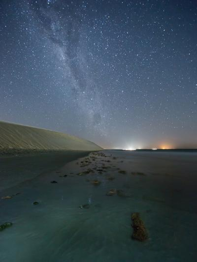 The Stars and Milky Way over the Dunes in Jericoacoara, Brazil-Alex Saberi-Photographic Print