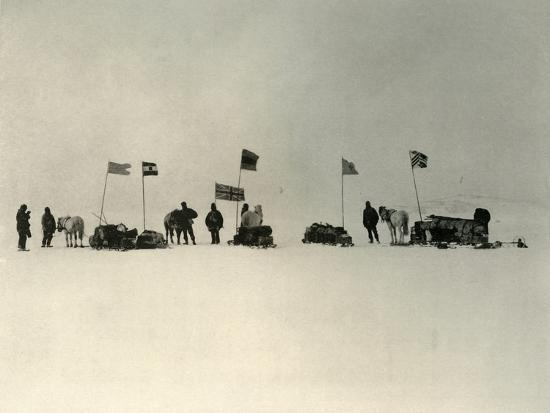 'The Start from the Ice-Edge South of Hut Point', c1908, (1909)-Unknown-Photographic Print