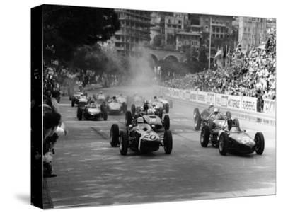 BRITISH GRAND PRIX 1966 BRANDS HATCH RACE CANVAS PRINT STRETCHED AND FRAMED