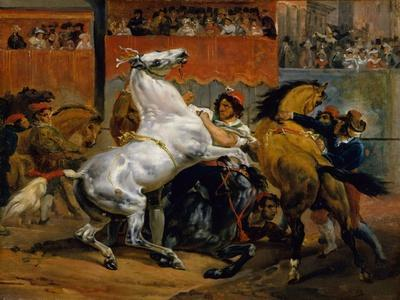 The Start of the Race of the Riderless Horses, 1820-Emile Jean Horace Vernet-Giclee Print