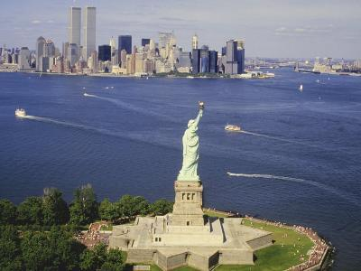 The Statue of Liberty and the New York Skyline--Photographic Print