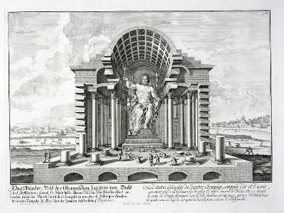 """The Statue of Olympian Zeus by Phidias, Plate 5 from """"Entwurf Einer Historischen Architektur""""-Johann Bernhard Fischer Von Erlach-Giclee Print"""