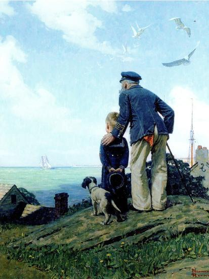 The Stay at Homes (or Outward Bound; Looking Out to Sea)-Norman Rockwell-Premium Giclee Print