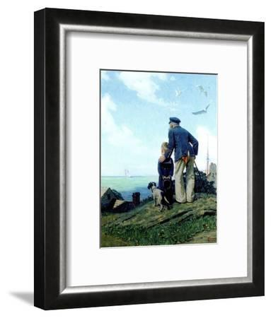 The Stay at Homes (or Outward Bound; Looking Out to Sea)-Norman Rockwell-Framed Premium Giclee Print
