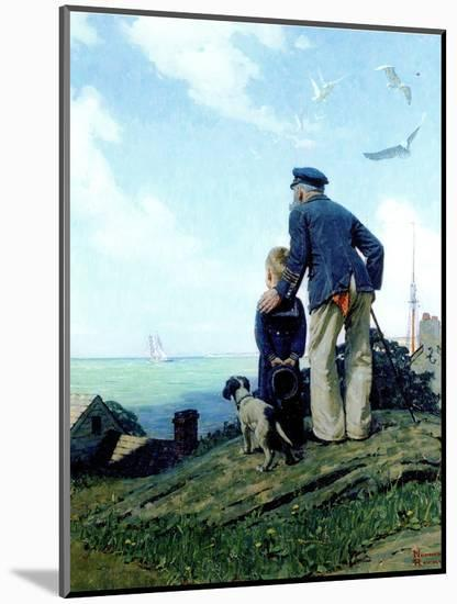 The Stay at Homes (or Outward Bound; Looking Out to Sea)-Norman Rockwell-Mounted Premium Giclee Print