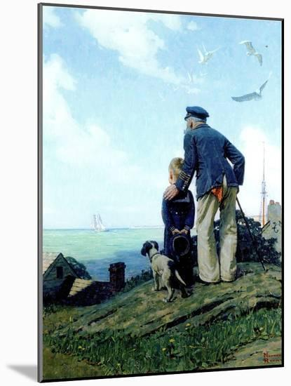 The Stay at Homes (or Outward Bound; Looking Out to Sea)-Norman Rockwell-Mounted Giclee Print