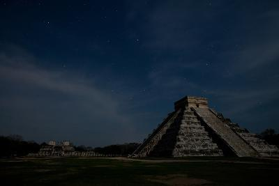 The Step Pyramid, El Castillo, and Other Ruins at Chichen Itza Under a Star Filled Sky-Dmitri Alexander-Photographic Print