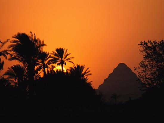 The Step Pyramid of Djoser Silhouetted by the Setting Sun-Kenneth Garrett-Photographic Print
