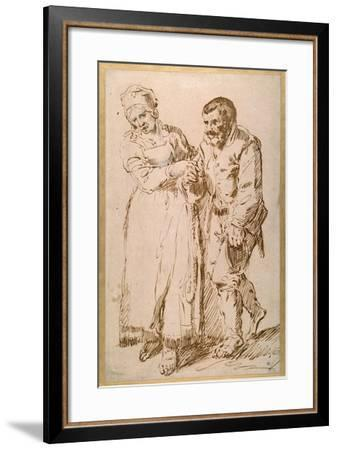 The Steps of an Elderly Peasant Guided by His Wife (Pen and Ink with Chalk on Paper)-Joos Van craesbeeck-Framed Giclee Print