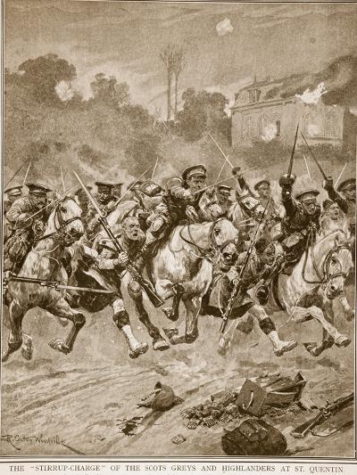 The 'stirrup-Charge' of the Scots Greys and Highlanders at St. Quentin, 1914-19-Richard Caton Woodville-Giclee Print