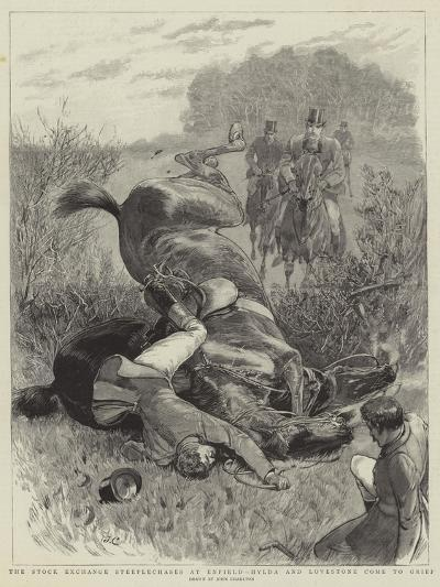 The Stock Exchange Steeplechases at Enfield, Hylda and Lovestone Come to Grief-John Charlton-Giclee Print