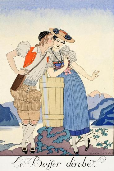 The Stolen Kiss-Georges Barbier-Giclee Print