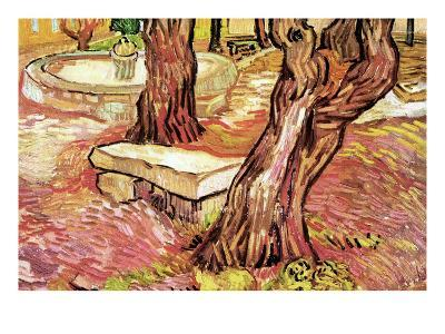 The Stone Bench in the Garden of Saint-Paul Hospital-Vincent van Gogh-Art Print