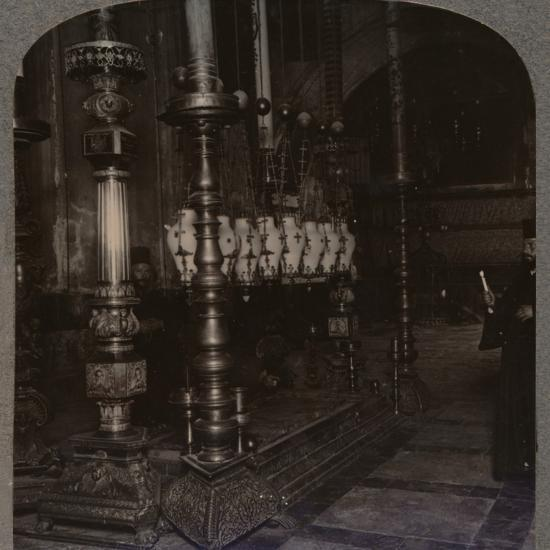 'The Stone of Annunciation in the Holy Sepulchure Church, Jerusalem', c1900-Unknown-Photographic Print