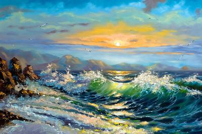 The Storm Sea On A Decline-balaikin2009-Art Print