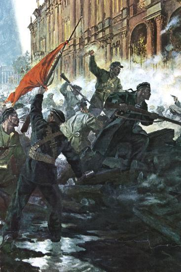 The Storming of the Winter Palace, St Petersburg, Russian Revolution, October 1917--Giclee Print