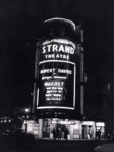 The Strand Theatre, London is Lit up at Night to Advertise the Play Maigret Starring Rupert Davies