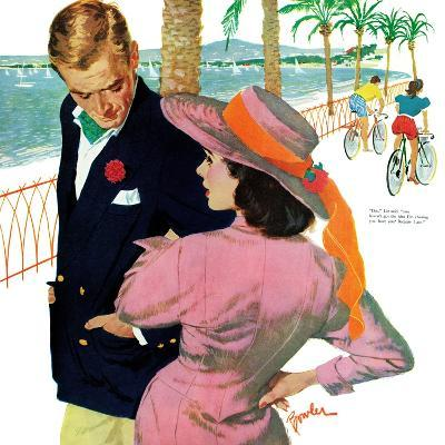 """The Strategy of Love - Saturday Evening Post """"Men at the Top"""", September 28, 1957 pg.32-Joe Bowler-Giclee Print"""