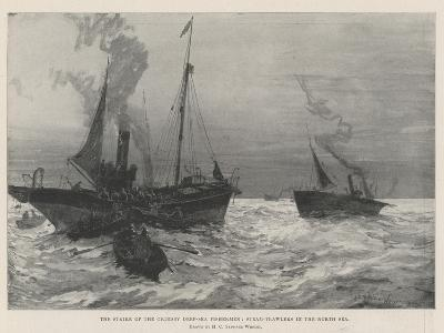 The Strike of the Grimsby Deep-Sea Fishermen, Steam-Trawlers in the North Sea-Henry Charles Seppings Wright-Giclee Print