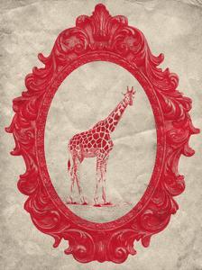 Framed Giraffe in Crimson by THE Studio