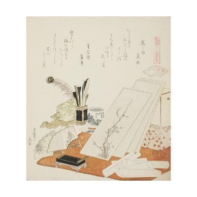 The Studio, Illustration for the White Shell (Shiragai), 1821-Katsushika Hokusai-Giclee Print