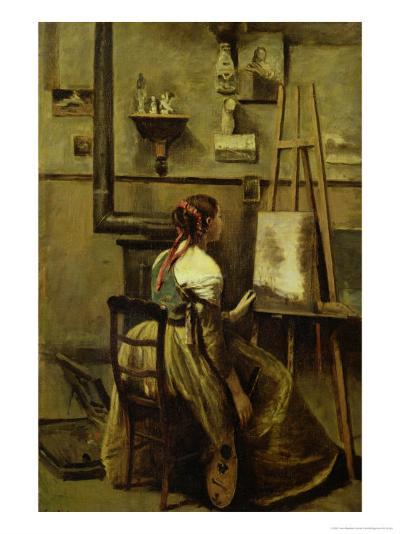 The Studio of Corot, or Young Woman Seated Before an Easel, 1868-70-Jean-Baptiste-Camille Corot-Giclee Print