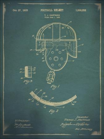 Vintage Football Helmet Patent Blue by THE Studio