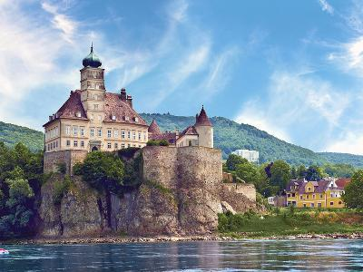 The Stunning Schonbuhel Castle Sits Above the Danube River Along the Wachau Valley of Austria-Miva Stock-Photographic Print