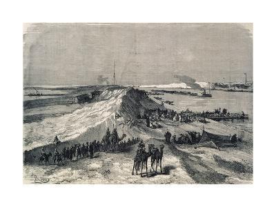 The Suez Canal Near Al Kantara, Syrian Caravans Waiting to Be Ferried Across, Egypt--Giclee Print