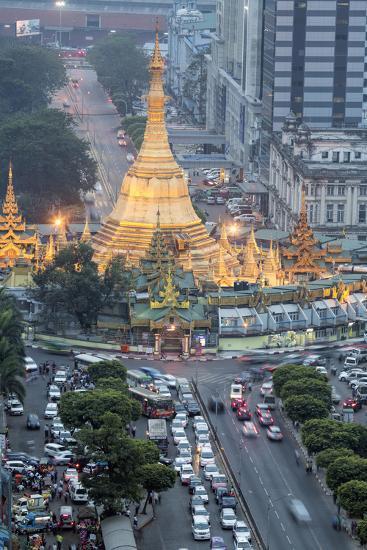 The Sule Paya Pagoda in Rushing Traffic, Downtown Yangon, Myanmar (Burma), Southeast Asia-Alex Robinson-Photographic Print