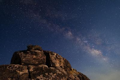 The Summer Milky Way and Ancient Native American Petroglyph-Babak Tafreshi-Photographic Print