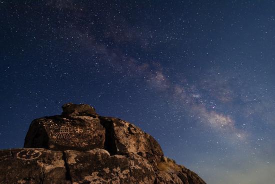 The Summer Milky Way and Ancient Native American Petroglyph-Babak Tafreshi-Photographic Print