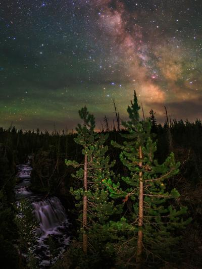 The Summer Milky Way and Green Air Glow in a Dark Starry Sky over Yellowstone National Park-Babak Tafreshi-Photographic Print