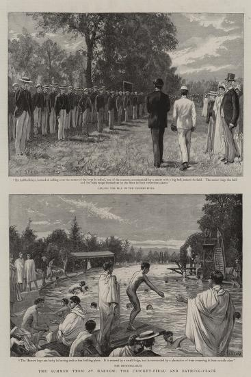 The Summer Term at Harrow, the Cricket-Field and Bathing-Place-Charles Joseph Staniland-Giclee Print