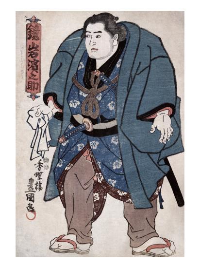 The Sumo Wrestler Kagamiiwa Hamanosuke, Japanese Wood-Cut Print-Lantern Press-Art Print