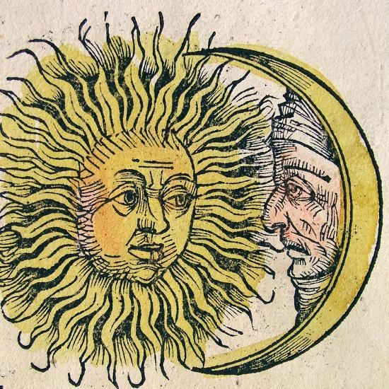 The Sun and Moon, Published in the Nuremberg Chronicle, 1493--Giclee Print