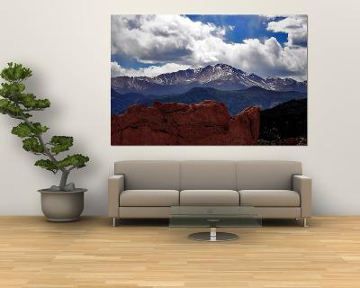 The Sun Breaks Through the Clouds to Highlight the Summit of Pikes Peak--Giant Art Print