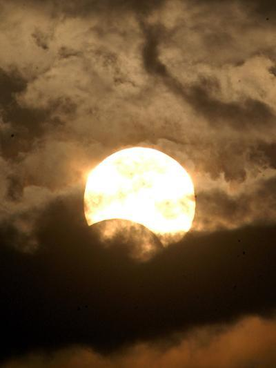 The Sun is Seen During the Solar Eclipse, in Madras, India--Photographic Print