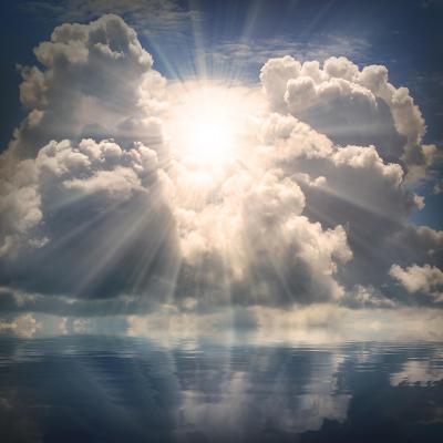 The Sun on Dramatic Sky over Sea-Kletr-Art Print