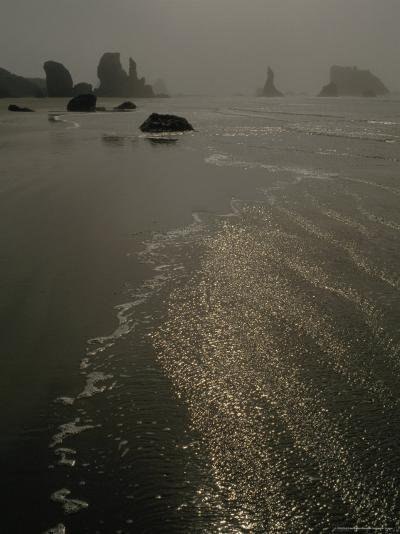 The Sun Reflects Off the Water at Bandon Beach, Oregon-Phil Schermeister-Photographic Print