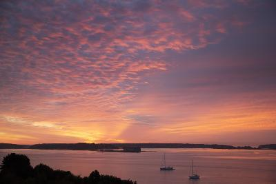 The Sun Rise over Fort Gorges and Casco Bay-Robbie George-Photographic Print