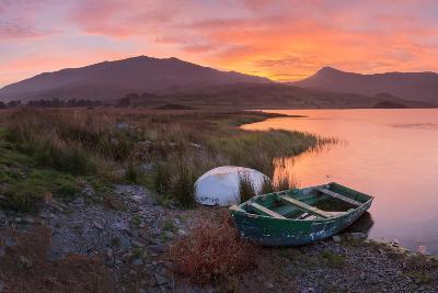 The Sun Rises Behind Mount Snowdon Creating a Beautiful Orange Sky-John Greenwood-Photographic Print