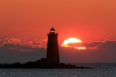 The Sun Rises Behind Whaleback Light Offshore from Kittery, Maine-Robbie George-Photographic Print