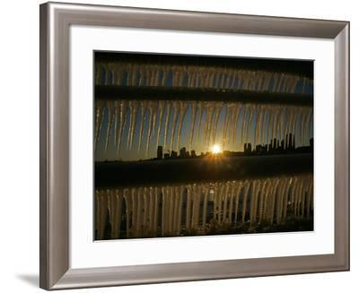 The Sun Sets on a Sub Zero Day Behind the Skyline of Milwaukee--Framed Photographic Print