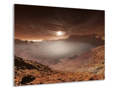 The Sun Sets over the Eberswalde Region of Mars-Stocktrek Images-Metal Print